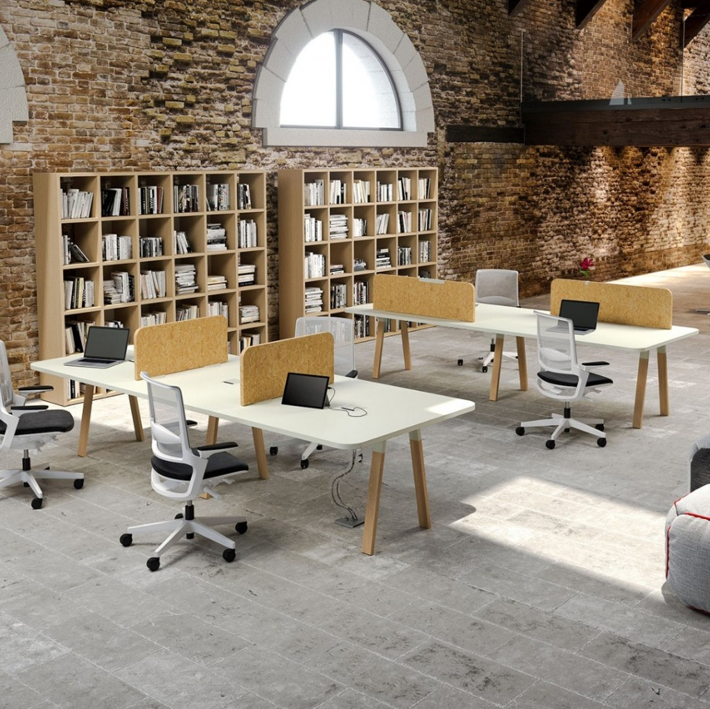 Bureau individuel ou bench Atreo wood