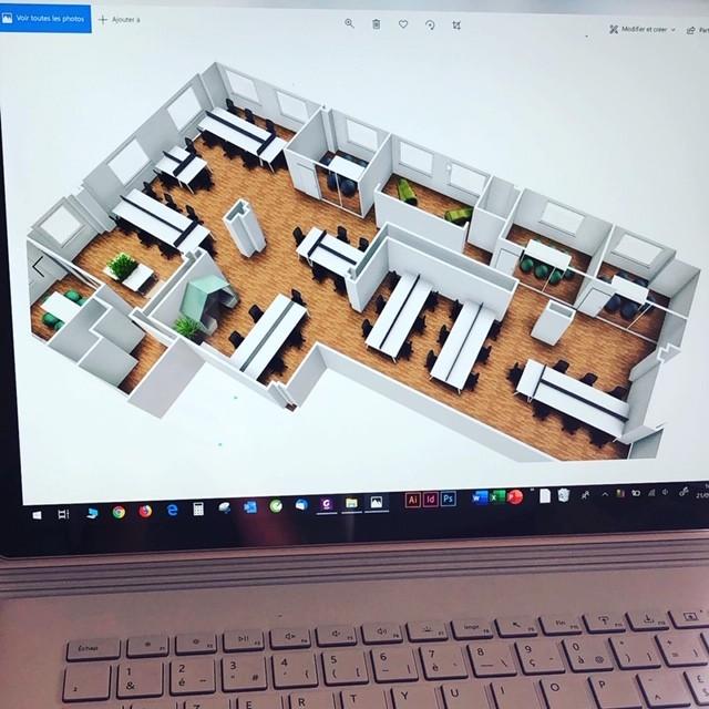 Conception en plan 3D de l'aménagement