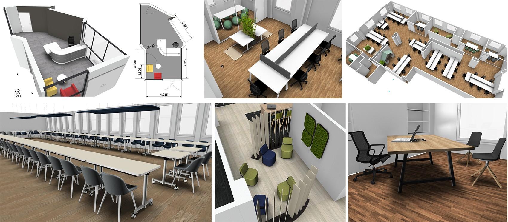 Réalisation d'aménagements de bureaux Mahora Concept